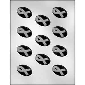 Awareness ribbon oval chocolate mold