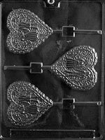Lacy Bride And Groom Heart Lollipop Chocolate Mold