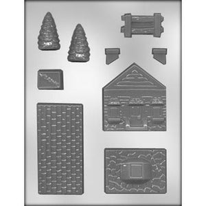 3D House With Fence Chocolate Mold