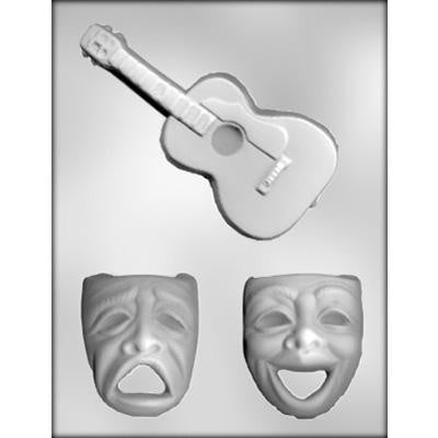 Masks And Guitar Chocolate Mold
