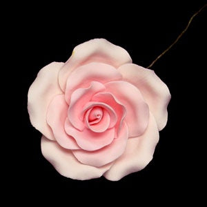Pink Gumpaste Tea Rose w/Wire - Extra Large