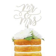 Mr and Mrs Flourish Cake Topper Silver