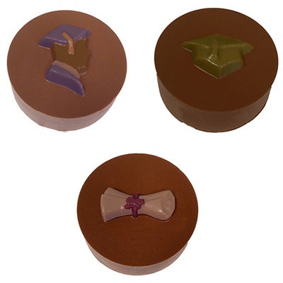 assorted graduation round sandwich cookie chocolate mold