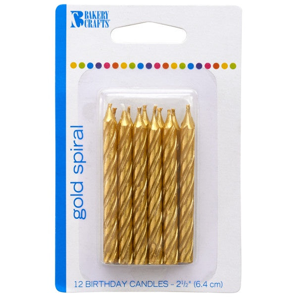 Spiral Candle - Gold, 12pc