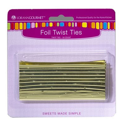 Lorann Gold Foil Twist Ties - 50 count