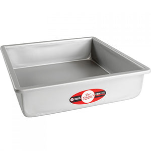image of fat daddios square cake pan that is an 13 inch square and 3 inches deep