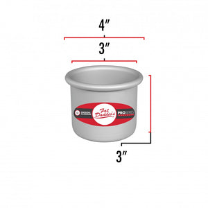 image shows the dimensions of a 3 inch round cake pan. The outer diameter is 4 inches and the inner diameter is 3 inches. The depth is 3 inches