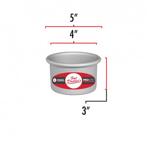 image shows the dimensions of a 4 inch round cake pan. The other diameter is 5 inches and the inner diameter is 4 inches with a 3 inch depth