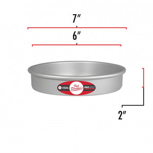 image shows the dimensions of a 6 inch round cake pan. The outer diameter is 7 inches and the inner diameter is 6 inches.
