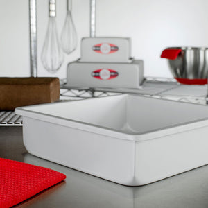 image of fat daddios square cake pans with 3 inch depth