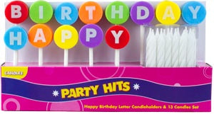 Happy Birthday Letter Candleholder Set