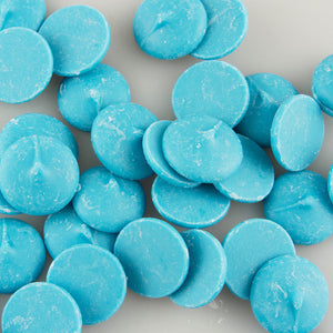 image of merckens light blue candy melts in wafer form