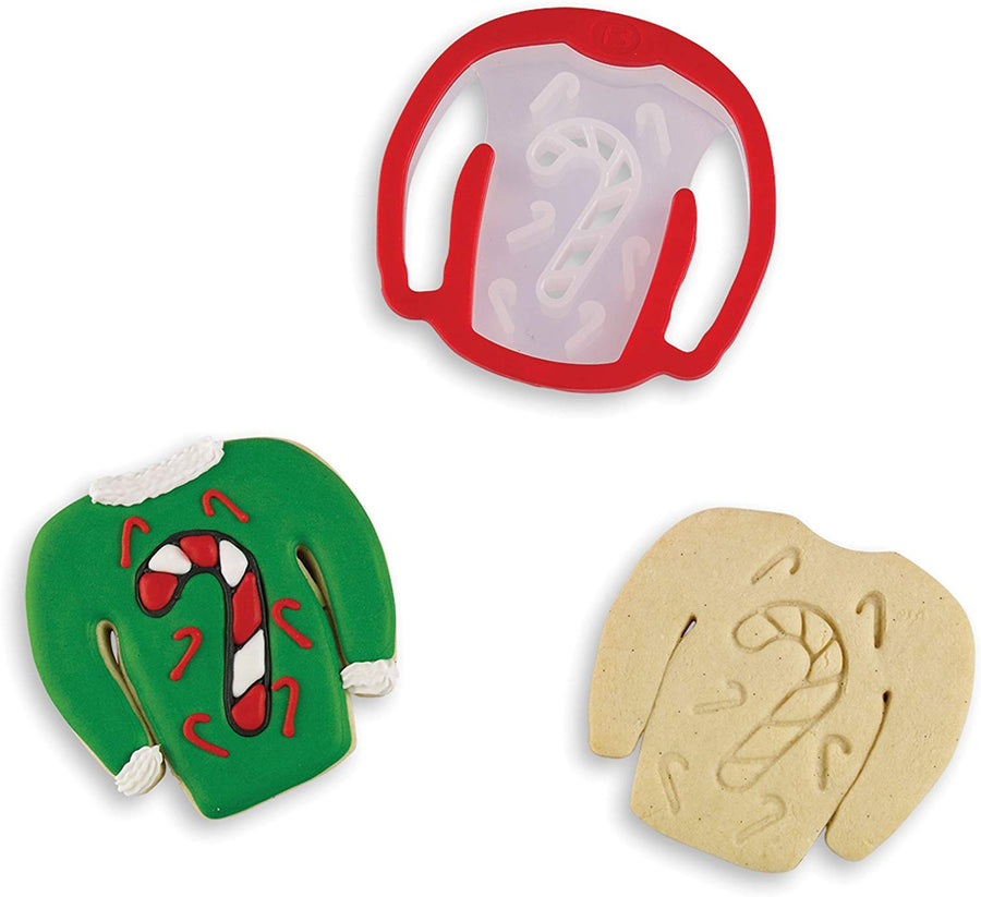 Ugly Sweater Stamp Cookie Cutter - Candy Cane