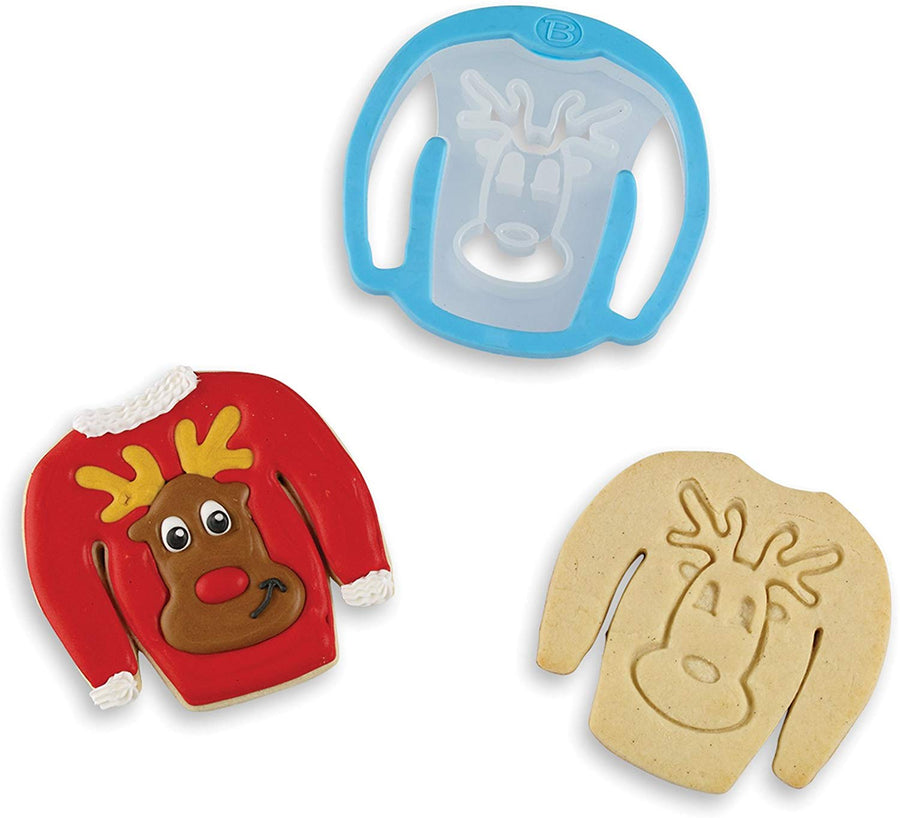 Ugly Sweater Stamp Cookie Cutter - Reindeer