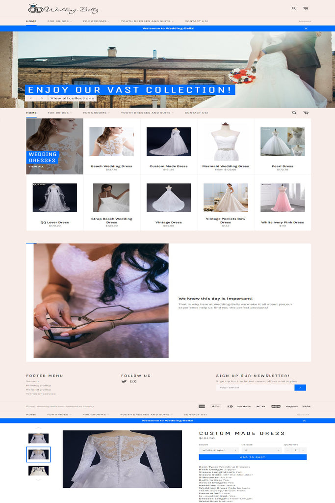 wedding clothes store shopify
