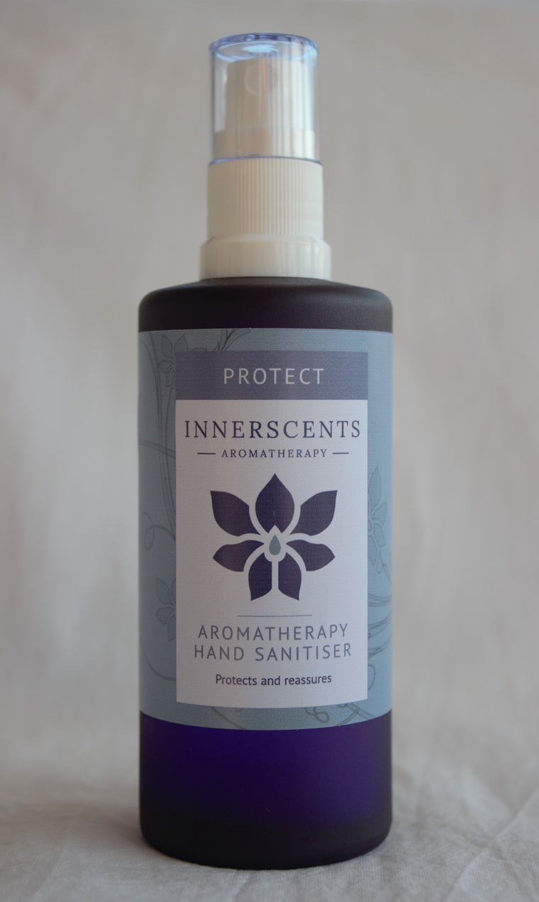 Protect Natural Aromatherapy Hand Sanitizer in Beautiful Glass Bottle 100ml