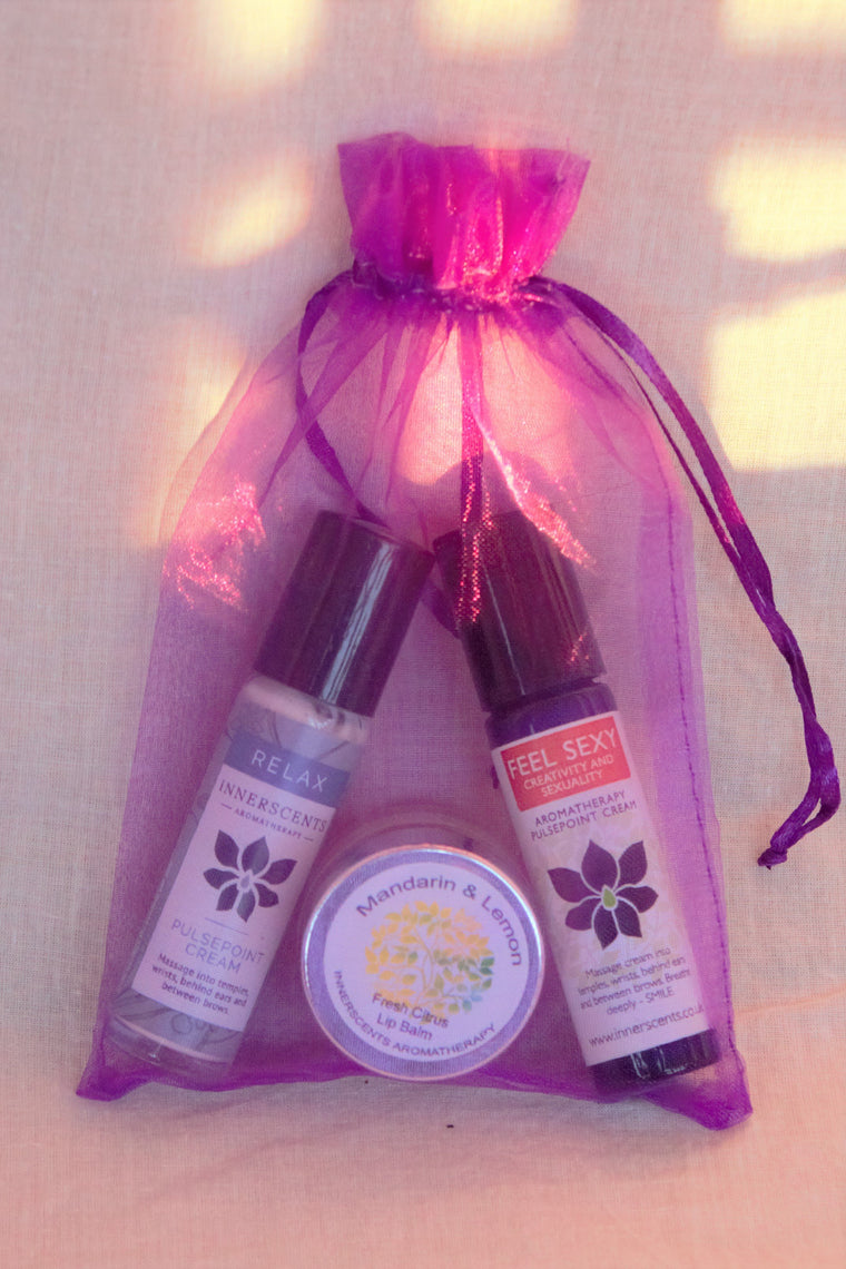 Choose from the range: Aromatherapy Pulsepoint Cream and Lip Balm Baggie