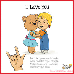 I LOVE YOU in sign language with description of how to sign I Love You.