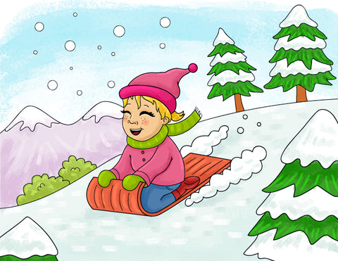 Emma sledding down a snowy hill. Learn sign language with Emma and Egor.