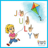 Learn to fingerspell July in sign language.