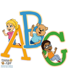 Emma, Egor and Eli are using sign language to sign their ABC's in ASL and SEE. How to sign the ABC and the alphabet. Fingerspell the alphabet.