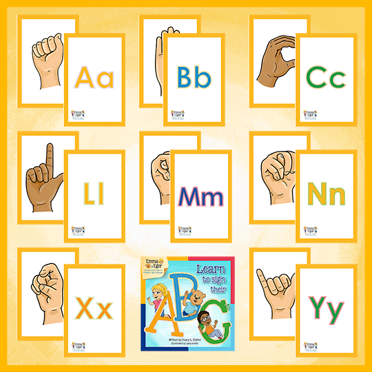 Emma and Egor-Print at Home-Learn to Sign Their ABC's-Flashcards-Flashcards - Print at Home-Emma & Egor-Emma & Egor