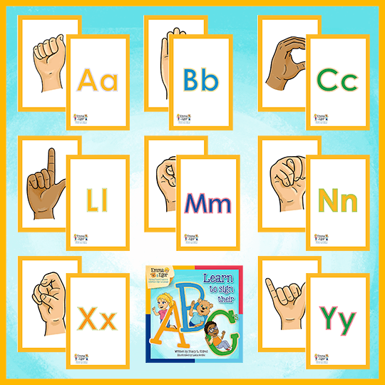 Emma and Egor-Learn to Sign Their ABC's-Flashcards-Flashcards-Emma & Egor-Emma & Egor