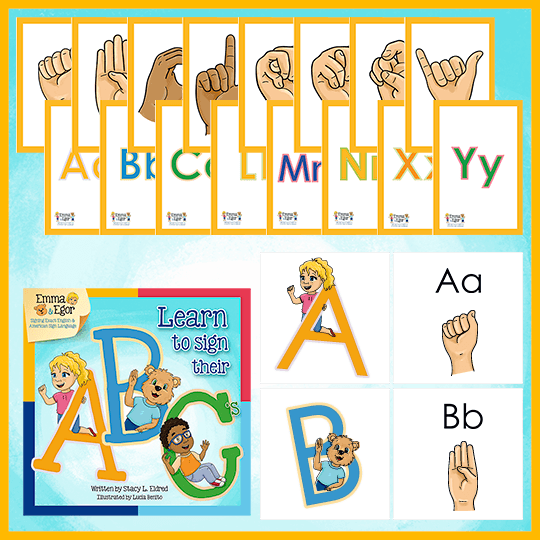 Emma and Egor-Learn to Sign Their ABC's-Book and Flashcards-Book-Flashcards-Emma & Egor-Emma & Egor