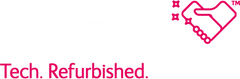 RueZone Tech Refurbished Heart logo trademark pink and white bold text