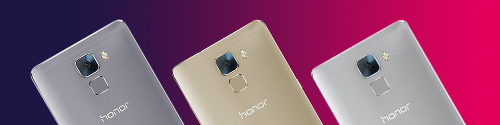 Huawei Honor 7 Gold Grey Silver next to eachother