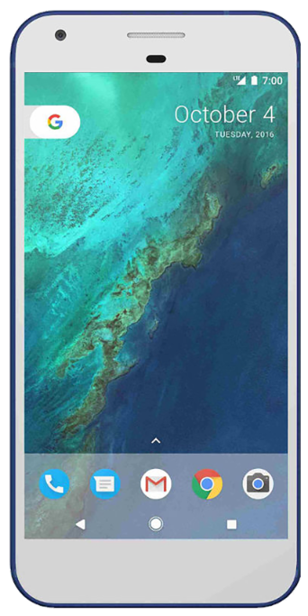 Google Pixel smartphone front screen in white with blue surround