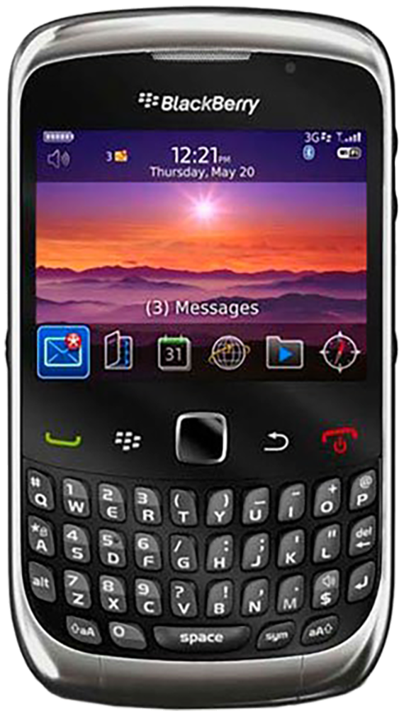 Blackberry 9300 smartphone front screen with keyboard buttons