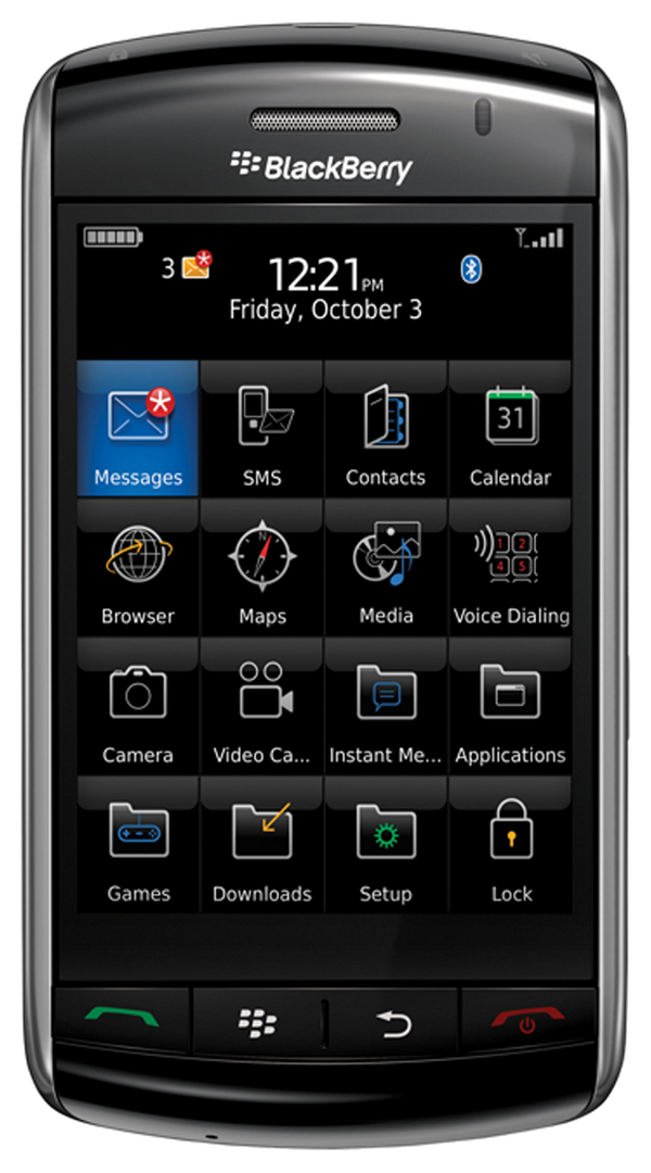 Blackberry 9500 Storm smartphone front screen