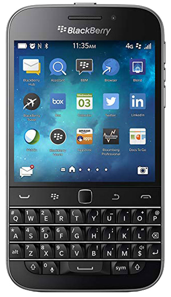 Blackberry Classic smartphone front screen with keyboard buttons