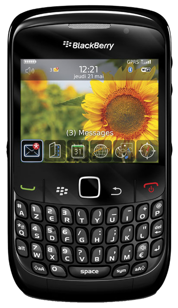 Blackberry Curve 8520 smartphone front screen with keyboard buttons