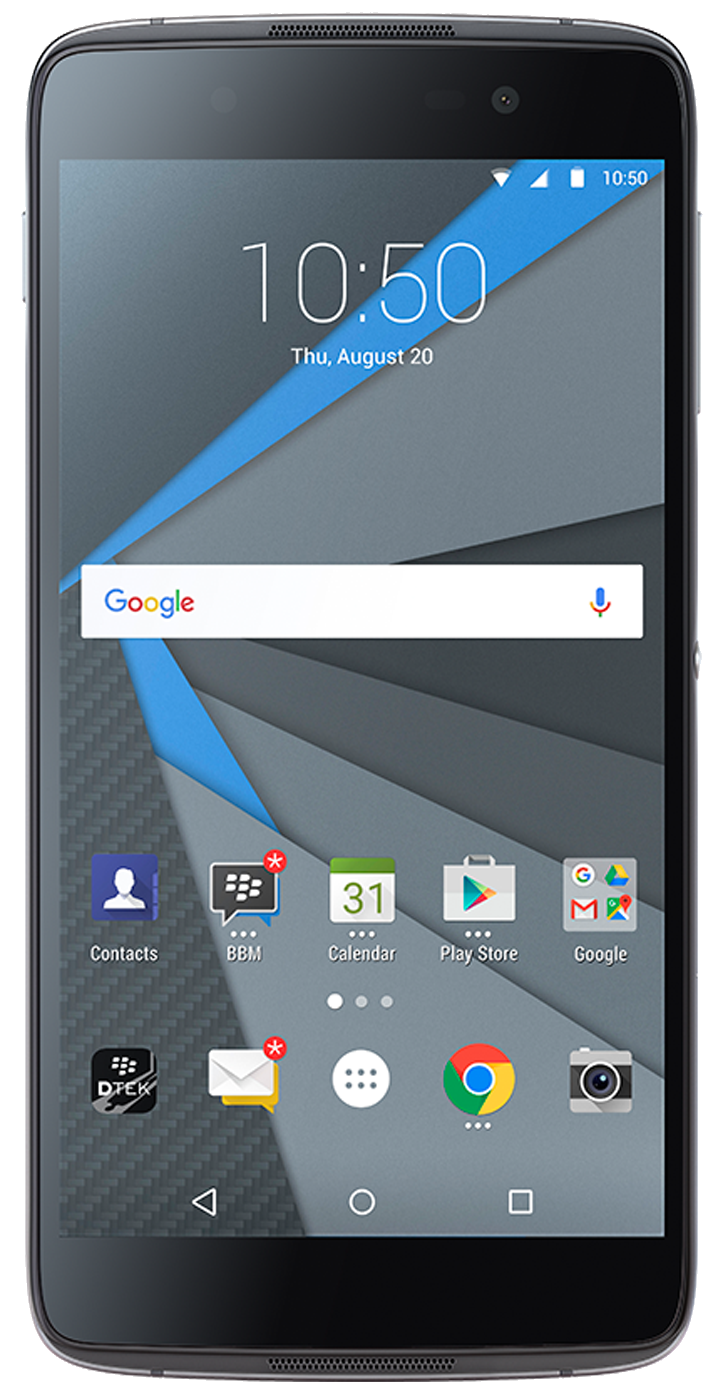 Blackberry DTEK50 smartphone front screen
