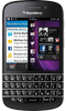 Blackberry Q10 smartphone front screen with keyboard buttons