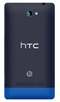 HTC 8S Windows smartphone back in black with bright blue surround