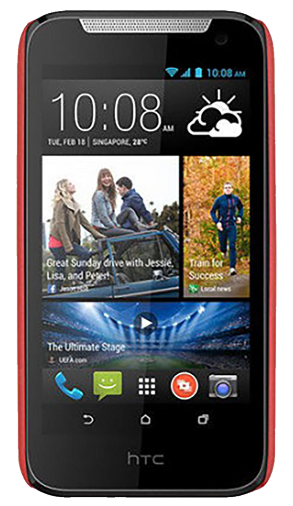 HTC Desire 310 smartphone front screen with red surround