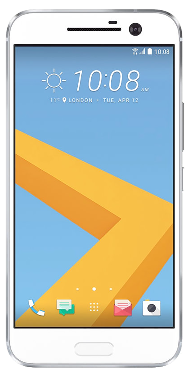 HTC 10 smartphone front screen in white surround