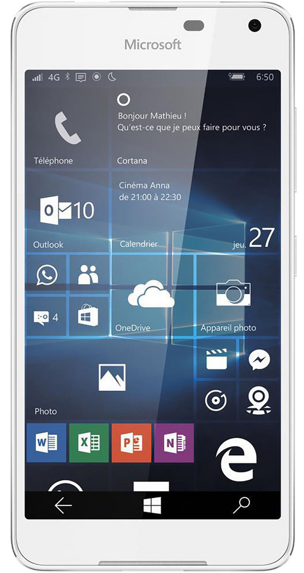Microsoft Lumina 650 phone in white front screen