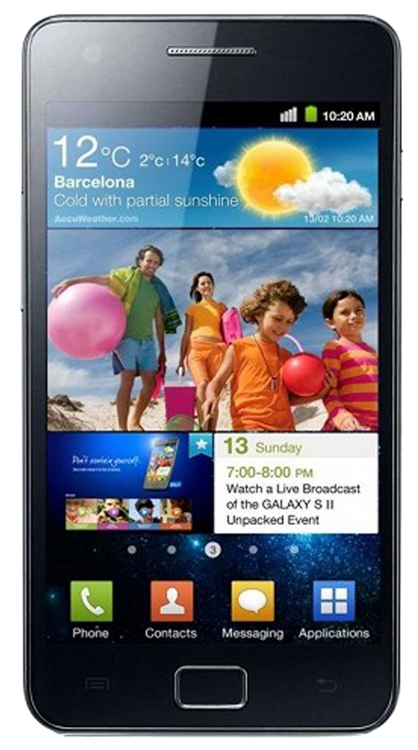 Samsung Galaxy S2 (GT-I9100) smartphone front screen