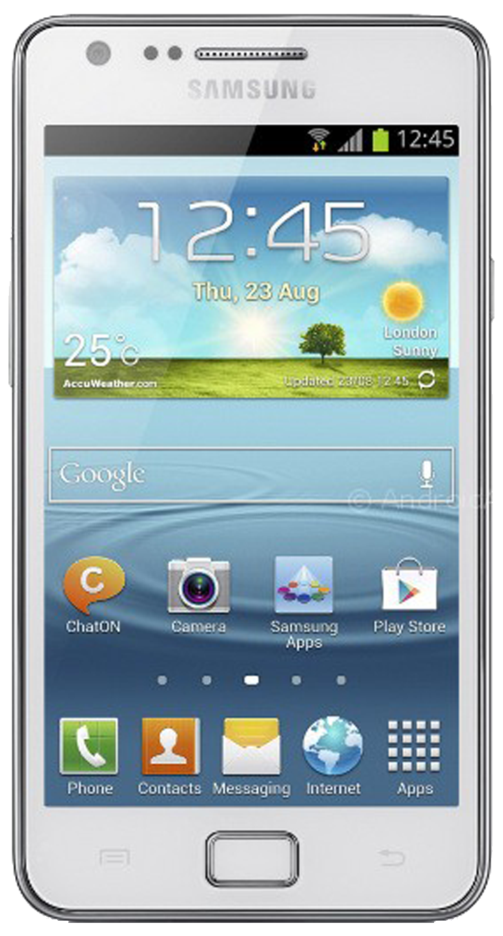 Samsung Galaxy S2 (GT-I9100) smartphone front screen with white surround