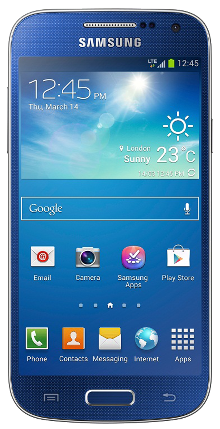 Samsung Galaxy S4 Mini (GT-I9195) smartphone front screen blue surround