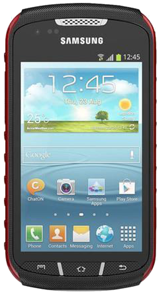 Samsung Galaxy Xcover 2 (GT-S7710) smartphone front screen with red surround