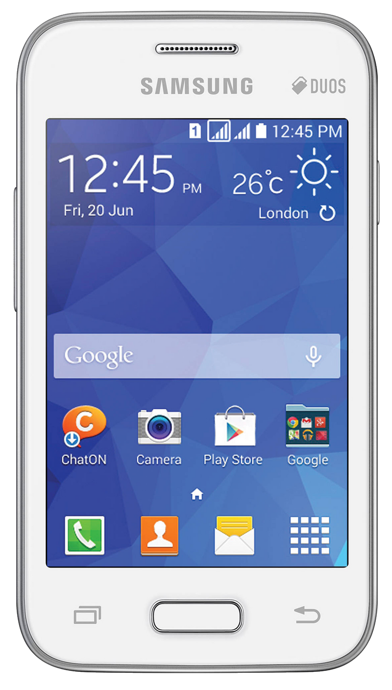 Samsung Galaxy Young 2 (SM-G130HN) smartphone front screen white with silver surround