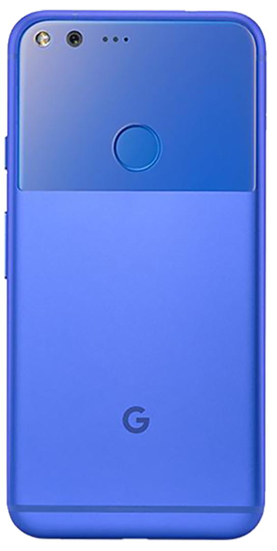 Google Pixel XL smartphone back in bright blue and light blue
