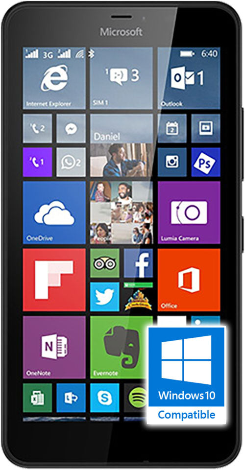 Microsoft Lumina 640 phone in black front screen