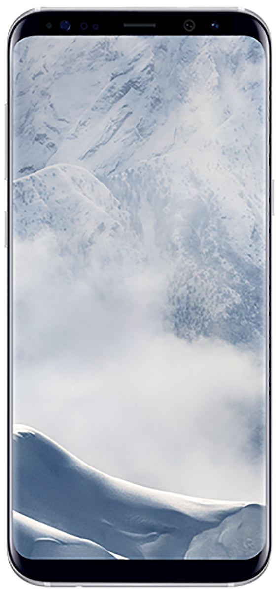 Samsung Galaxy S8+ (SM-G955F) smartphone front screen in silver