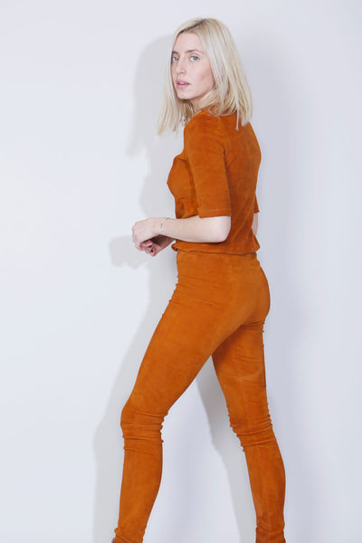 SUE REEDITION - PRINCE VELVET Leggings en Agneau Velours Stretch Curry